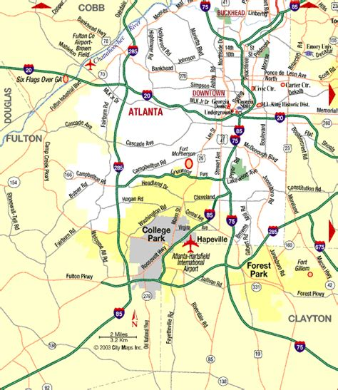 atlanta map in us map of atlanta area my