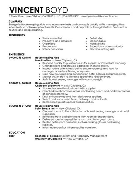 hospital housekeeping resume exles best housekeeping aide resume exle livecareer