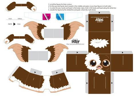 Paper Craft Templates Free - papertoys gremlins sercho brown template