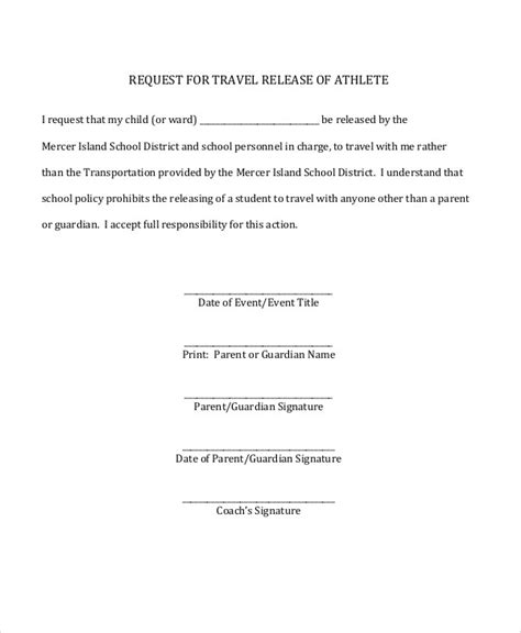 parent release form template sle parent release form 8 exles in word pdf