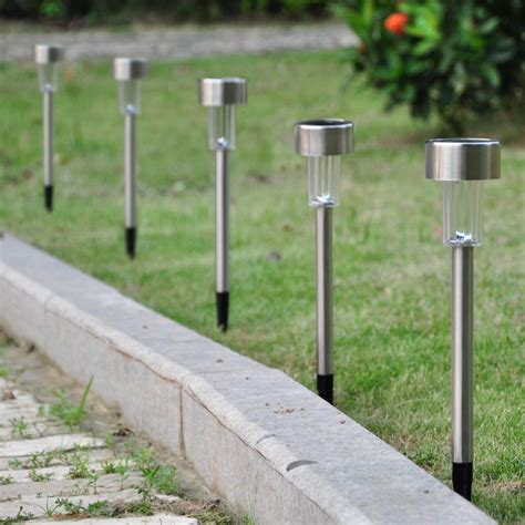 Walkway Lighting Fixtures 12pcs Garden Outdoor Stainless Steel Led Solar Landscape Path Lights Yard L Ebay