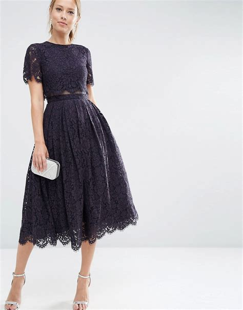 dresses by lace crop top midi prom dress by asos navy