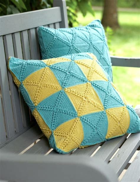 Patchwork Cushions Patterns - yarnspirations bernat patchwork pillows