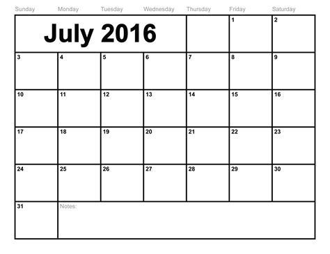 Calendar Templates 2016 July 2016 Calendar Printable Template 8 Templates
