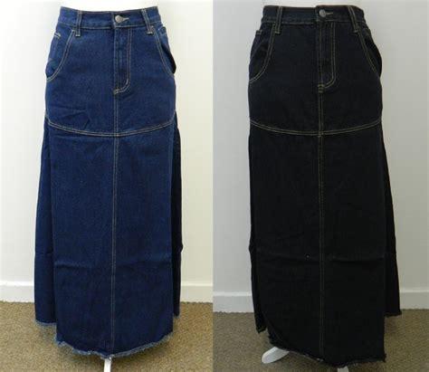denim maxi skirt black blue length uk size