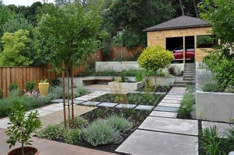 concrete walkway for modern front yard landscape ideas