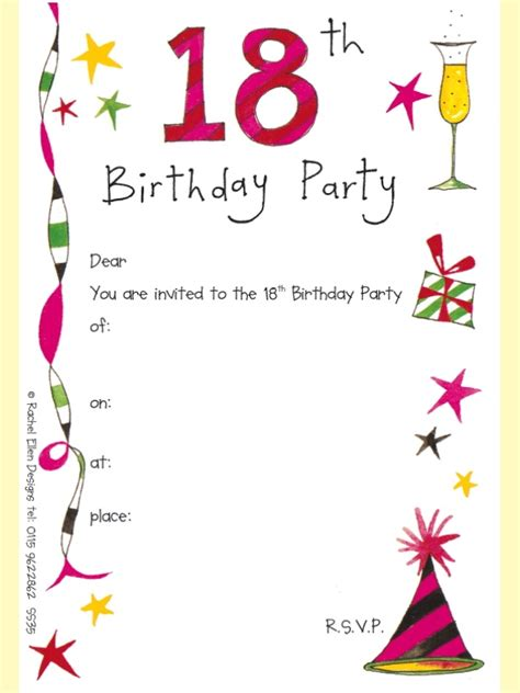 18th birthday invitations template best template collection
