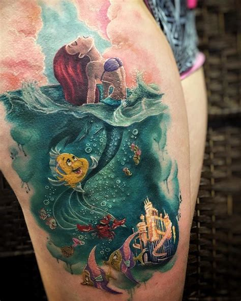 collection of 25 disney monster tattoo on leg