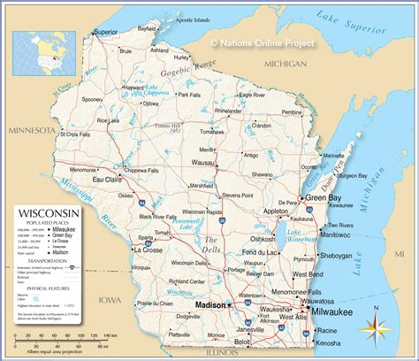 wisconsin on us map reference maps of wisconsin usa nations project