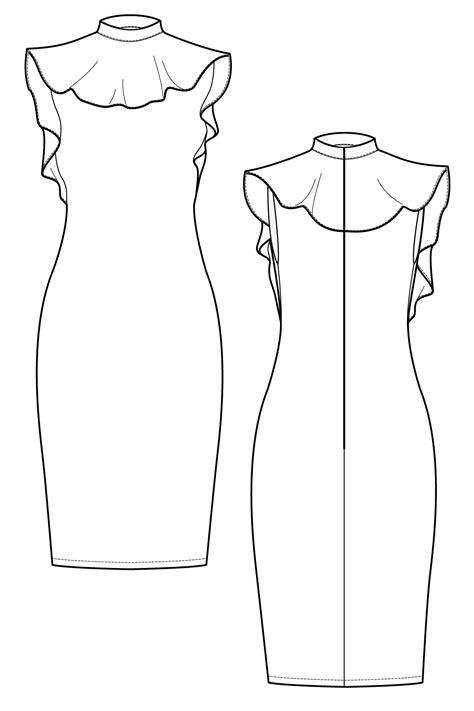 neck pattern sketch ariani peplum neck dress flat drawing by ralph pink