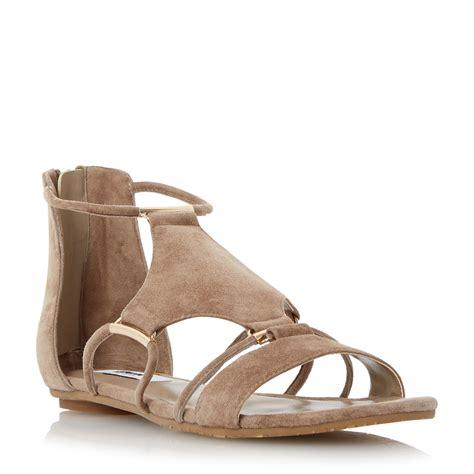 flat suede sandals dune laik hardware detail suede flat sandals in gray