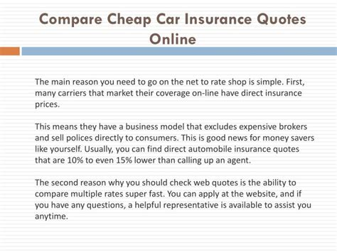 Auto Insurance Quotes Comparison by Ppt Compare Cheap Car Insurance Quotes Powerpoint