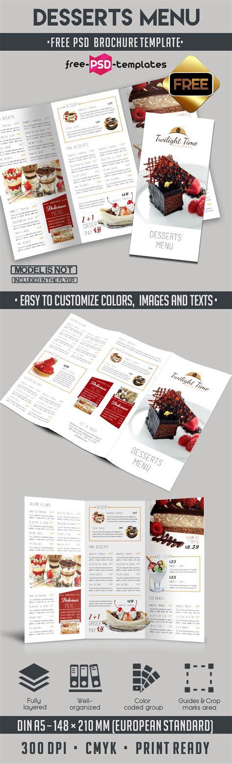Menu Brochure Template Free by Desserts Menu Tri Fold Brochure Template Free Psd Templates