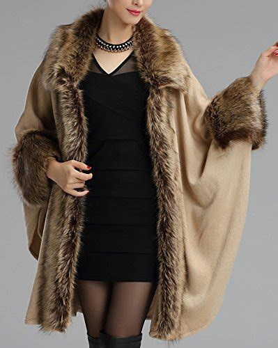 helan women s luxury style faux fur cloak cape coat shawl