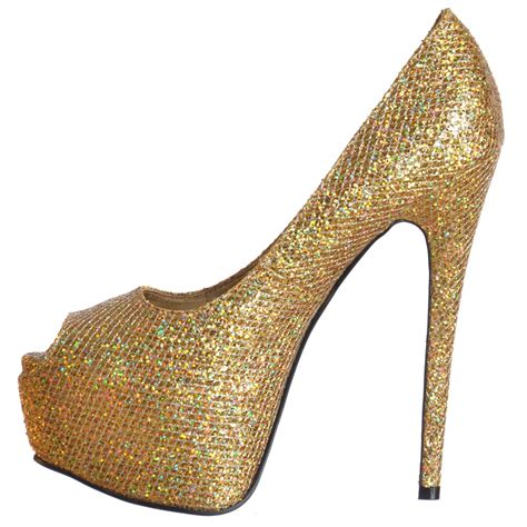 high heels gold shoes onlineshoe sparkly shimmer glitter peep toe stiletto