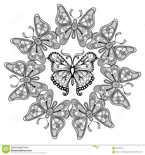 anti stress colouring book doodle and zentangle vector circle of flying butterflies stock vector