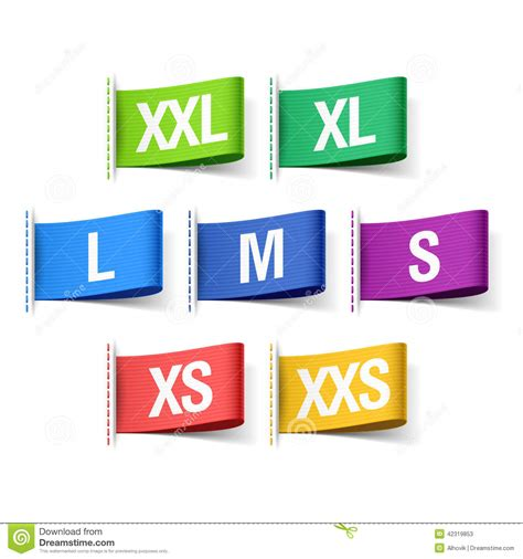 Zetha Rok Size S M color clothing tags with sizes stock vector image 42319853