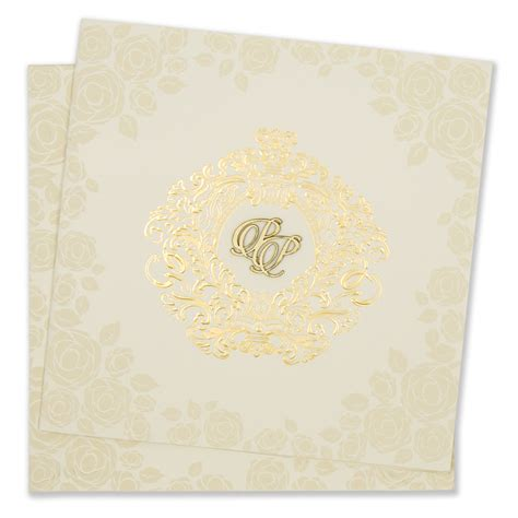 rose themed cards rose themed cream colour indian wedding invitation card