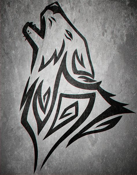 howling wolf tribal tattoo tribal wolf howling