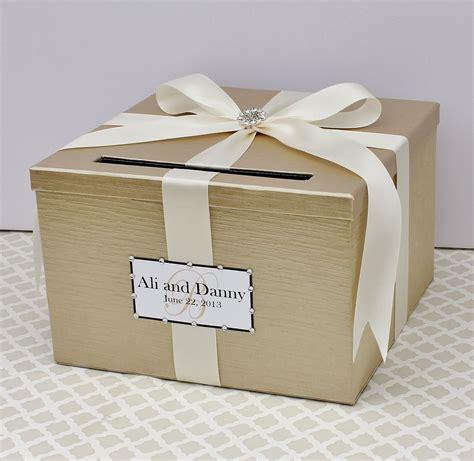 Wedding Card Box Champagne Gold Ivory Money Holder by