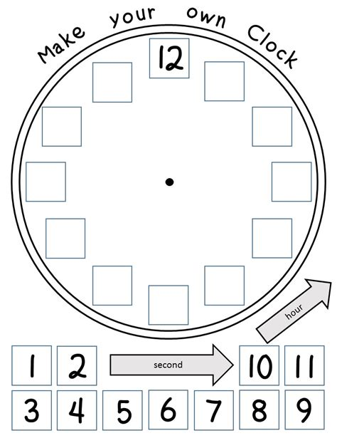 make your own clock template time worksheets hour half hour and quarter hour