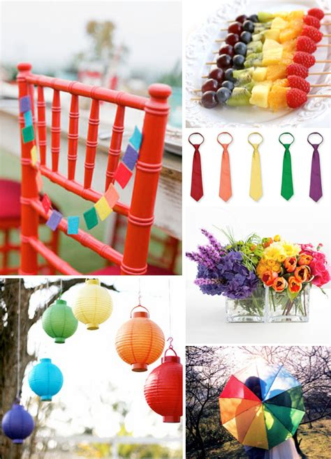 Rainbow Bright Decorations by Bright Wedding Colors Weddings By Lilly