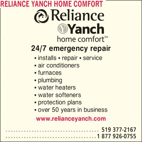 reliance yanch home comfort 89 av rawson barrie on