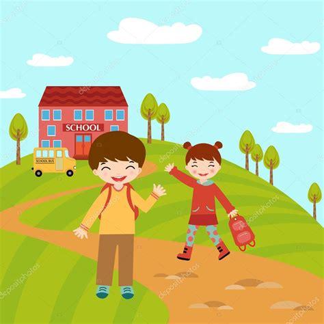 imagenes niños yendo al colegio ni 241 os van a la escuela vector de stock 169 japanez 19425563