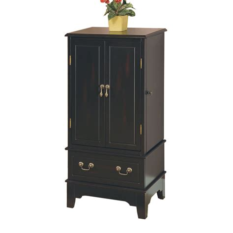 black armoire shop coaster fine furniture black floorstanding jewelry armoire at lowes com