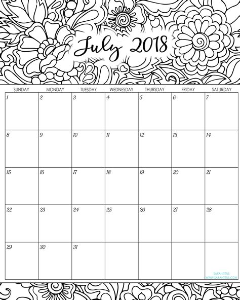 2018 Monthly Coloring Calendars Printables Sarah Titus Calendar Template Sheets