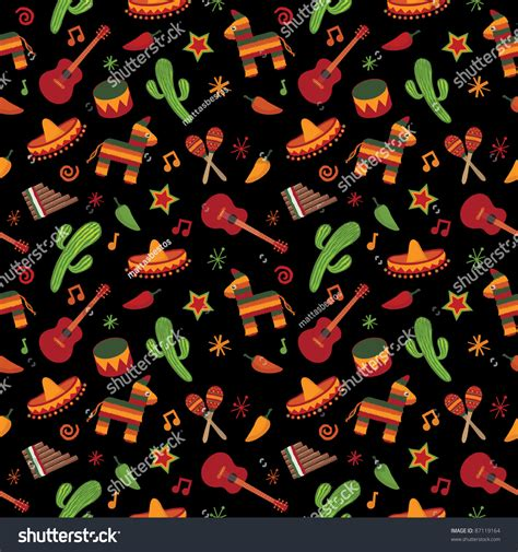 Mexican Address Lookup Mexican Themed Seamless Pattern With Cactus Sombrero And Pinata Stock Vector