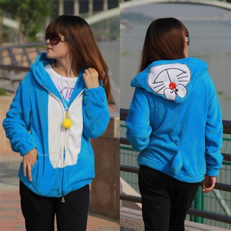 anime jaket sweater hoodie doraemon putih review harga