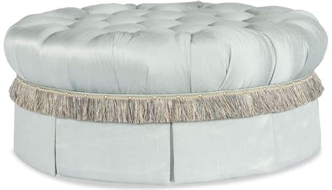round tufted ottoman with fringe fringed and tufted ottoman