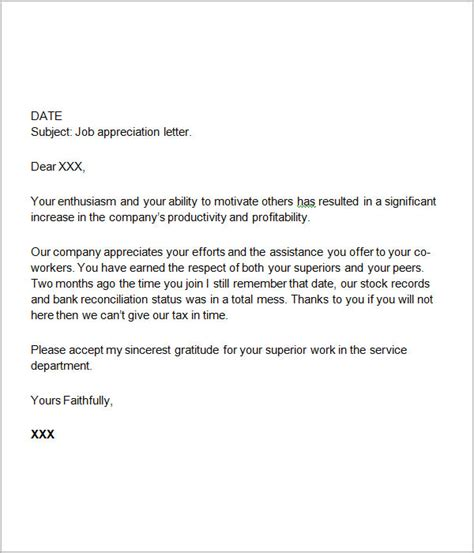 appreciation letter for giving 24 sle thank you letters for appreciation pdf word