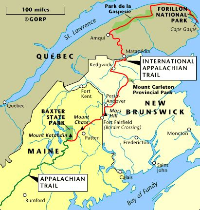 appalachian mountains canada map international appalachian trail canada usa 2011