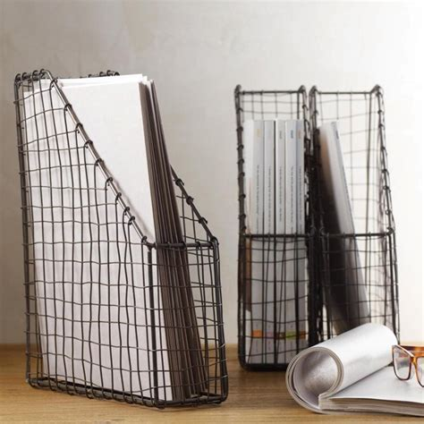 industrial desk accessories vintage wire magazine file industrial desk accessories