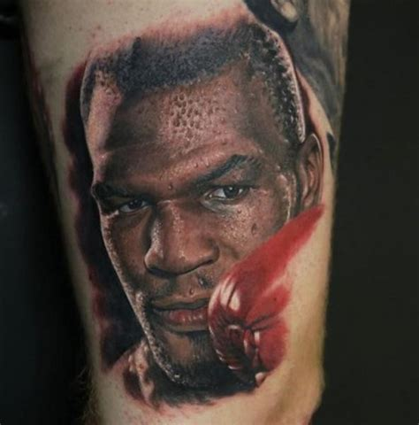 mike tyson tattoo realism style detailed and colored mike tyson