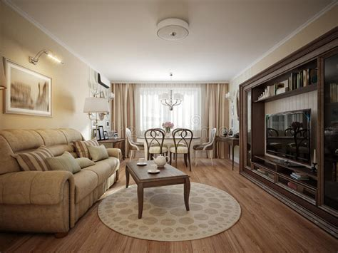 diseno interior clasico moderno de la sala de estar  del