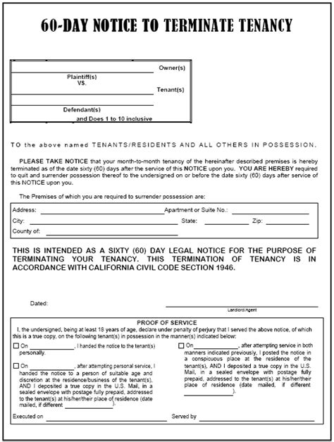 Lease Termination Letter 60 Days californai 60 day notice to terminate tenancy evictme org