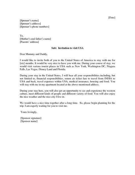 Invitation Letter To Attend Letter Of Invitation For Visitor Visa Invitation Librarry