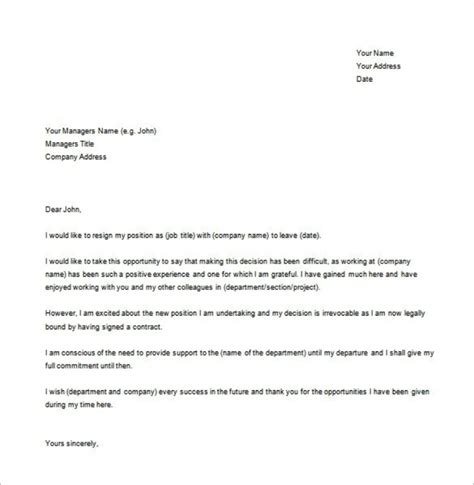 Commitment Letter To Manager Sle Office Manager Formal Resignation Letter Template Ms Word Templatezet