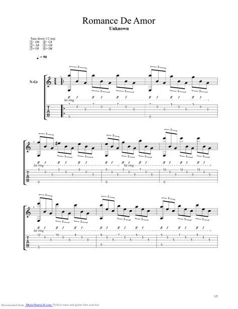 tutorial guitar romance de amor romance de amor guitar pro tab by unknown musicnoteslib com