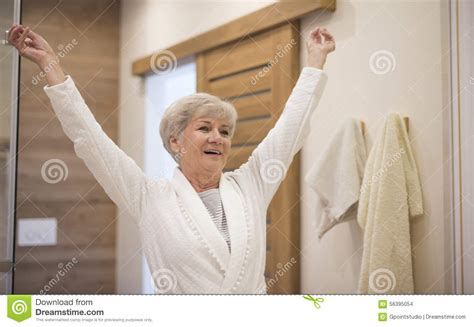 bathroom lady photo senior lady in the bathroom stock photo image 56395054