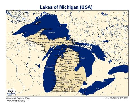 lakes of michigan map michigan map