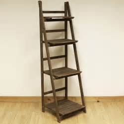 Step Ladder Bookcase 4 Tier Brown Ladder Shelf Display Unit Free Standing Folding Book Stand Shelves Ebay