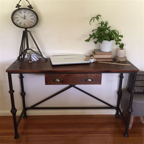industrial pipe console table industrial pipe style metal timber console desk with