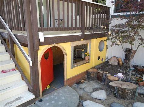 dog house under deck under deck playhouse google search backyard landscaping decor pinterest