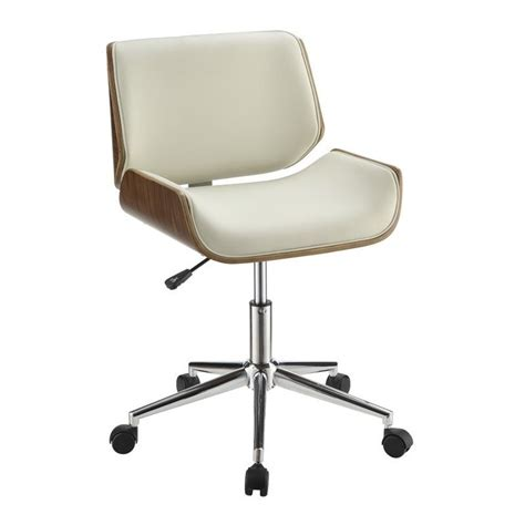 Modern Desk Chair Coaster Contemporary Faux Leather Office Chair In Ecru And Chrome 800613