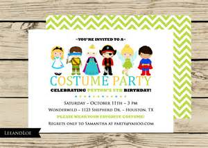 costume birthday party invitation princess ninja pirate