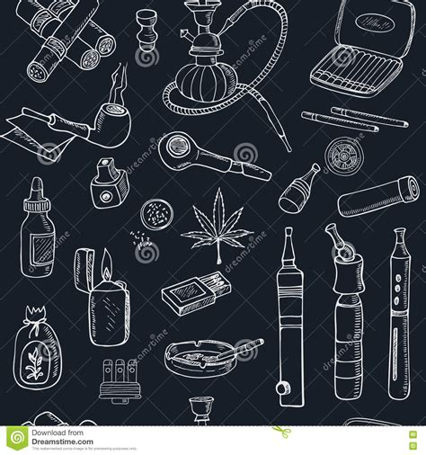 doodlebug vape doodle retro smoke seamless pattern with hookah vape